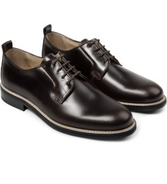 Carven Brown Pull Up Leather Shoes Model Picture