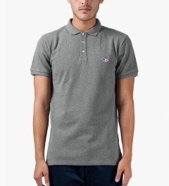 Maison Kitsune Grey Melange Tricolor Patch S/S Polo Shirt Model Picture