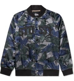 Stussy Blue Camo Satin Bomber Jacket Picture