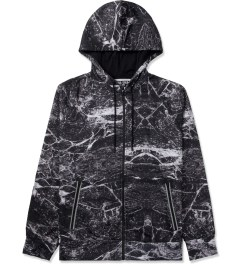 AURA GOLD Black Marble Print Allover Zip-Up Hoodie Picture