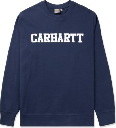 Carhartt WORK IN PROGRESS Jupiter/White College Crewneck Sweater Picutre