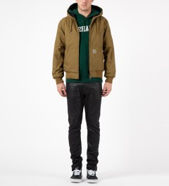 Carhartt WORK IN PROGRESS Bottle Green/White Hooded College Sweater Model Picutre