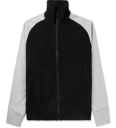 Reigning Champ Black/Heather Grey RC-3267 Polartec Stand Collar Zip Front Jacket Picture