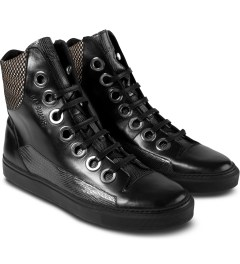 Raf Simons Black Laces High Sneakers Model Picutre