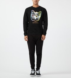 Odd Future Black OFWGKTA Tron Cat Crewneck Sweater Model Picture