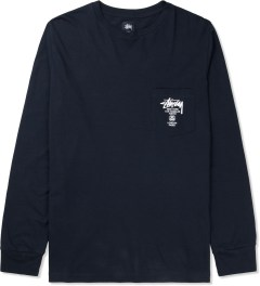Stussy Navy World Tour L/S Pocket T-Shirt Picture