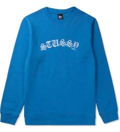 Stussy Brite Blue Gothic EMB. Sweater Picutre