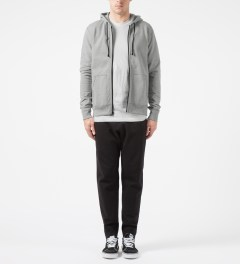 Reigning Champ Heather Grey RC-3260-1 Heavyweight Terry L/S Zip Front Hoodie Model Picture