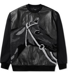 3.1 Phillip Lim Black Leather Front Panel and Horse Loop Embroidery Classic L/S Pullover Hoodie Picutre