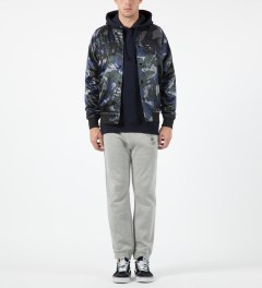 Stussy Blue Camo Satin Bomber Jacket Model Picture