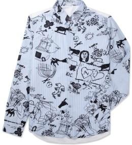 CARVEN Blue/White Striped Poplin Shirt Picture
