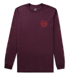 HUF Burgundy Japan Worldwide L/S T-Shirt Picutre