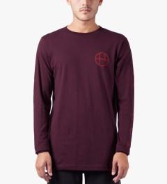 HUF Burgundy Japan Worldwide L/S T-Shirt Model Picutre
