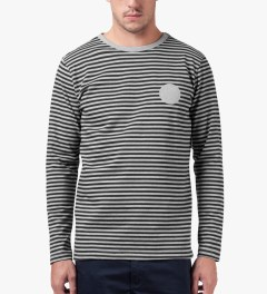 SATURDAYS Surf NYC Heather Grey Alek Printed Stripe L/S T-Shirt Model Picutre