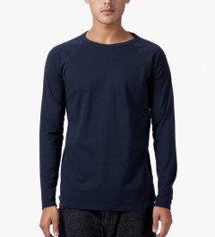 Reigning Champ Navy Solid Jersey L/S Raglan T-Shirt Model Picture
