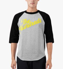 The Hundreds Athletic Heather/Black ¾ Sleeve Slant Baseball T-Shirt Model Picture