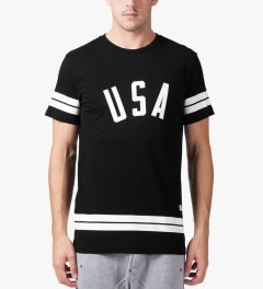 Stampd Black USA Stripe T-Shirt Model Picture