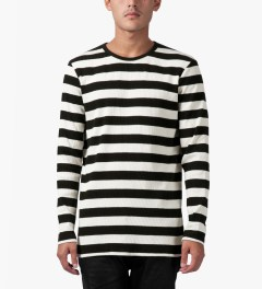 Munsoo Kwon Black Bold Striped Back Split L/S T-Shirt Model Picture