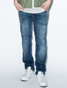 Nudie Jeans Blue Thin Finn Flood Used Denim Jeans Picture
