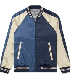 Liful Navy Solid Satin Bomber Jacket Picture