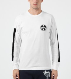 Stussy White Worldwide L/S Dot T-Shirt Model Picture