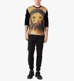 i love ugly. Black Illuminati Crewneck Jersey Sweater Model Picutre