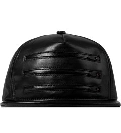 Stampd Black 3 Zipper Leather Snapback Cap Picture