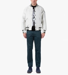 Opening Ceremony Light Grey Multi Dimensional Fingerprint Classic OC Varsity Jacket Model Picture