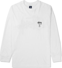 Stussy White World Tour L/S Pocket T-Shirt Picture