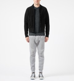 Reigning Champ Black RC-3241-1 Polartec L/S Varsity Jacket Model Picture