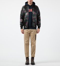 Stussy Wine Camo Satin Bomber Jacket Model Picture