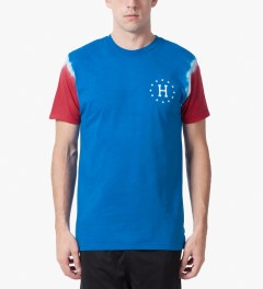 HUF Royal Blue/Red 12 Galaxy Sleeve Wash T-Shirt Model Picture