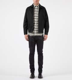 Grind London Black Cotton Harrington Jacket Model Picture