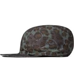 Stussy Olive Reversible Cheetah Camp Cap Model Picutre