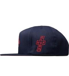 CLUB 75 HUF x Club 75 Navy Snapback Cap Model Picutre