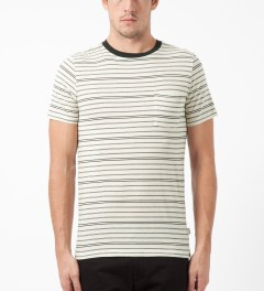 SATURDAYS Surf NYC Ecru Randall Pencil Stripe T-Shirt Model Picture