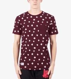 Grand Scheme Burgundy Scribble Dot T-Shirt Model Picutre