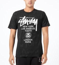 Stussy Black World Tour Scribble T-Shirt Model Picture