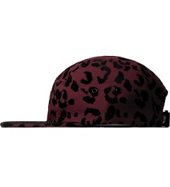 Stussy Burgundy Flocked Leopard Camp Cap Model Picutre