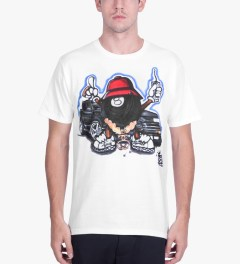 Stussy White Phade 8 Ball Man T-Shirt Model Picutre