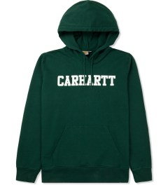 Carhartt WORK IN PROGRESS Bottle Green/White Hooded College Sweater Picutre
