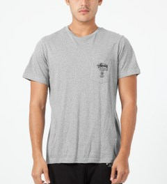 Stussy Heather Grey World Tour S/S Pocket T-Shirt Model Picture