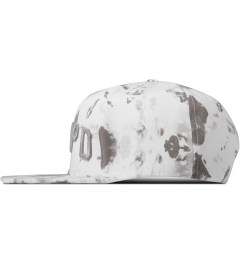Stampd White Blotch Print Snapback Cap Model Picture