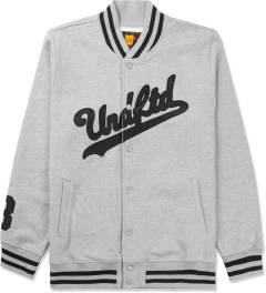 Undefeated Heather Grey Script Varsity Jacket Picture