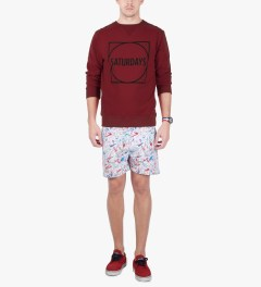SATURDAYS Surf NYC True Red Bowery Circle Square Sweater Model Picutre