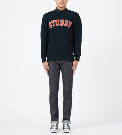Stussy Navy MLB Crewneck Sweater Model Picture