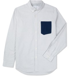 Liful Grey Oxford Stripe Pocket Shirt Picture