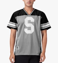 Stussy Grey All City Football S/S Crew Jersey Model Picutre