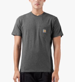 Carhartt WORK IN PROGRESS Dark Grey Heather S/S Pocket T-Shirt Model Picutre
