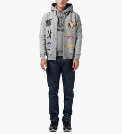 Undefeated Heather Grey Senior V Fleece Cardy Cardigan Model Picutre